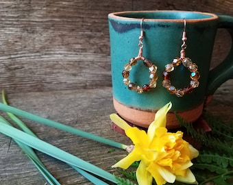 Rich Earth Tones Earrings, Handcrafted with Faceted Glass Beads and Copper