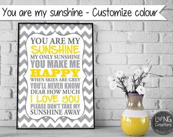 You are my sunshine wall art - printable digital file - nursery room decor - for boy or girl - kids wall art - Customize design
