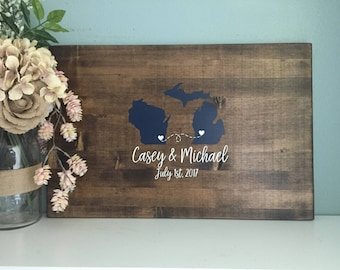 Wedding Guest Book Alternative, Two State Guestbook Heart Guestbook, Painted Rustic Wedding Decor Wedding Guest Book Wedding Gift