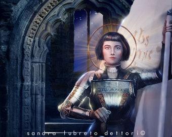 "Saint Joan of Arc, Catholic Art, Religious Art, 8x10"" or 11x14""Print, wall decor, ready to frame"