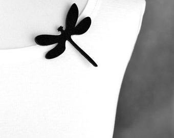 Felt brooch black dragonfly shape black dragonfly