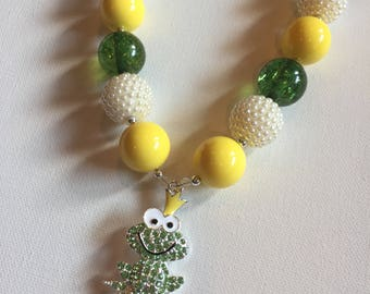 Princess And the Frog Jewelry - Chunky Bead Princess Necklace  -Princess and Pea Necklace - Prince Naveen Necklace - Disney Jewelry