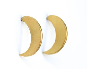 SHIELD - Large Crescent Stud earrings, sterling silver or 14kt gold vermeil.  Ear Shield Modern Shape Handcrafted by Chocolate and Steel