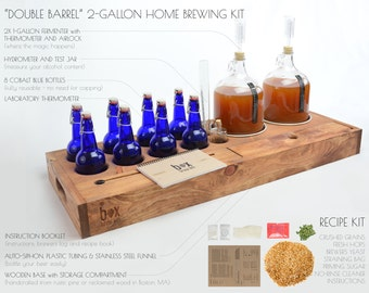 Reclaimed Wood Beer Making Kit - brew your own beer - in style. 2 Gallon Small-batch Home Brewing Kit with cobalt bottles