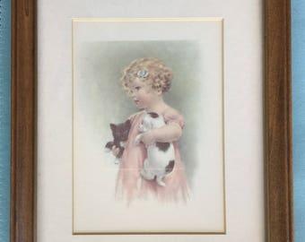 Vintage Print Art/Bessie Pease Gutmann/Friendly Enemies/Kid's Room Art/Child's Room Art/Vintage Art Portrait/1950's Art/Baby Art