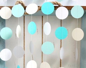 Mint Green, Aqua, White, Ivory and Grey 12 ft Circle Paper Garland- Wedding, Birthday, Bridal Shower, Baby Shower, Party Decorations