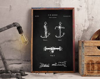 Nautical Printables, Boat Anchor Wall Decor, Vintage Nautical Decor, Sailing Gifts - Instant Digital download - Wall art decor