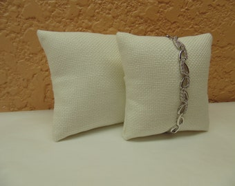 "Off White Linen Jewelry display pillow for Bracelets or Watches -set of 2 - 3""x3"""