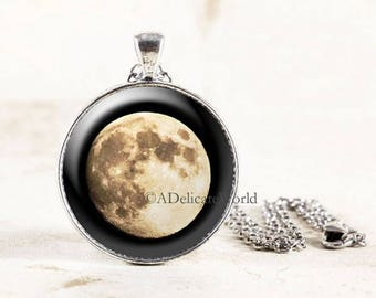 Silver Moon Necklace, Lunar Jewelry, Astronomy Necklace, Science Gift, Full Moon Jewelry, Outer Space Pendant, Geek Gift for Nerds
