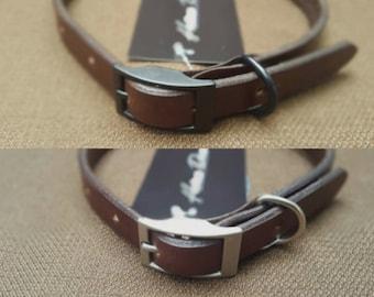 Dark Brown Handmade Leather Dog Collar