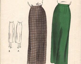Waist 24-40's-50's Misses' Skirt Vogue 6577 Hip 33