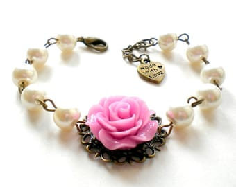 Maid Of Honor Gift Lilac Bracelet Bridal Party Jewelry Bridal Shower Gifts Ivory Pearl Wedding Jewelry Rose Bridesmaid Bracelet