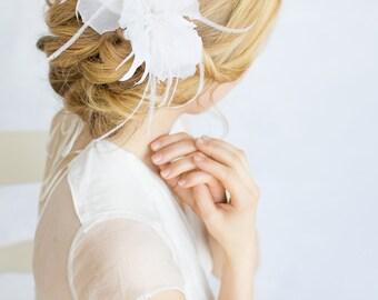 Silk Flower Iris - Wedding Headpiece, Bridal Fascinator, Floral Hair Accessory