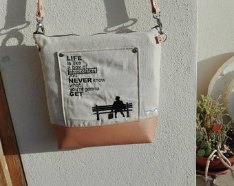 Hand made shoulder bag, embroidered Forrest Gump, life is like a box of chocolates
