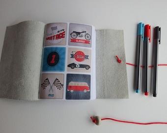 Vintage car motorbike Journal, VW Campervan, Leather Wrap Journal, Blank Book, Travel Journal, Leather Notebook, Gift for him