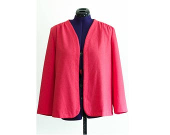 1970s hot pink long sleeve cardigan