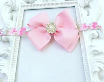 Pink Camoflauge Headband, Pink Camoflauge Bow Headband, Babies Pink HairBows/Hairbands, Girl's Pink Hair bow With Rhinestone Pendant,