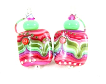 Lampwork Earrings, Pink Green Purple Earrings, Art Glass Earrings, Rippled Striped Earrings, Hippie Earrings, Colorful Earrings, Psychedelic