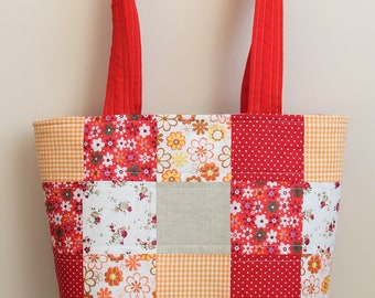 Red tote bag for women, qift for teacher mom, 40th bday gift, large tote bag, patchwork quilted tote, travel bag