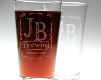 Personalized homeBrew glasses with Old fashion initials art base Set of 2 . fathers day gift,custom pint,engraved pint, custom Beer Glass