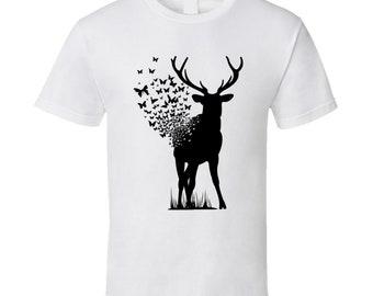 Deer Butterfly T Shirt