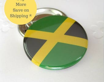 """Jamaica 1.5"""" Country Flag Button Badge, Backpack Pin, Locker Decorations Gift, Small Gift Under 5, Office Gag Gift, Stocking Stuffer (38mm)"""