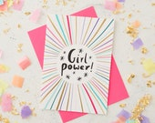 Girl Power Greeting Card - Friendship Card - Girl Power Print - Feminist Card - Girls Support Girls - Female Empowerment Card