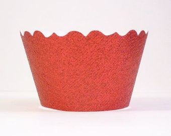 Glitter Red Cupcake Wrappers - Includes 12