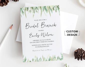 Greenery Bridal Shower Invitation, Bridal Shower Invitation, Bridal Shower Invite Printable, Watercolor Floral Bridal Shower Invitation