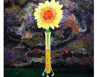Sunflower Space Print 11x17 Poster Art by Surly Amy Davis Roth