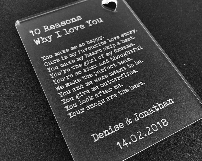 Personalised 10 Reasons Why I Love You Wallet Card Insert Valentines Gift Mr & Mrs, His Hers, Couples, Boyfriend, Girlfriend, Lover.