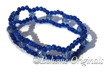 Atlantic blue glass bead stretch bracelet