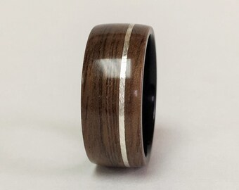 Bentwood Ring, Walnut Bentwood Ring with Sterling Silver band, Free Shipping