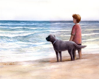 Boy and His Dog Friend  Art print of Watercolor Painting -  Child, Pet, Boy's Room, Friendship, childhood, Companion, Beach