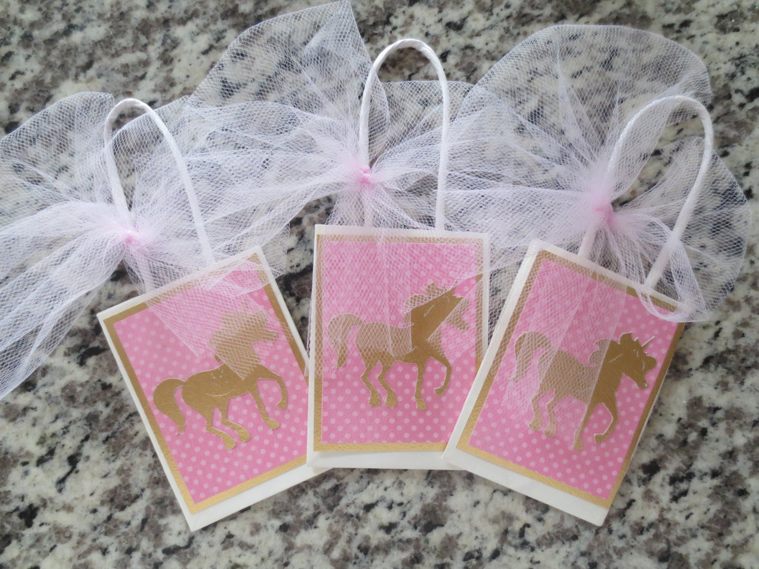 Pink And Gold Unicorn Party Favor Bags Set Of Six
