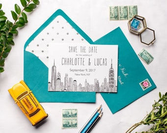 New York City Skyline Wedding Save the Dates | Freedom Tower, World Trade Center, Empire State Building NYC Invitations