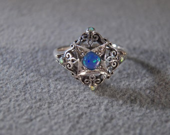 Vintage Sterling Silver  5  Round Opal Fancy Scrolled Filigree Etched Victorian Style Band Ring, Size 6.5