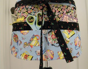 Teacher Apron-Crafter Vendor Utility Apron-Teapots and Flowers