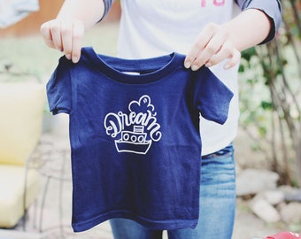 DREAM BOAT - Children's Navy Blue Graphic Tee Shirt - Size 6 - Short Sleeved Tug Boat - Nautical - DearSeed Kid T-shirt - Dear Seed