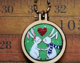 Christmas teeny bunny Mini Hoop Pendant - rabbit love winter Necklace Jewelry wood