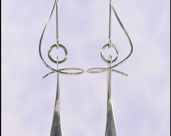 Niobium Spin 'Em In earrings with a hand forged dangle