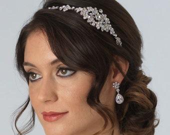 Vintage Wedding Headband, Bridal Hair Accessory, Rhinestone Wedding Headpiece, Antique Bridal Headband,Bride Headband,Side Headband ~TI-3168