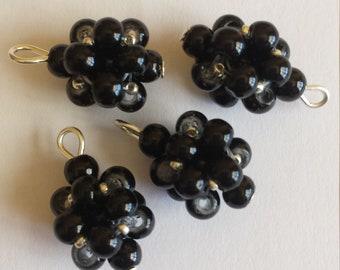4 4mm black glass pearl beads pendants