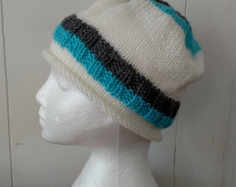 Winter White Knitted Hat With Stripes