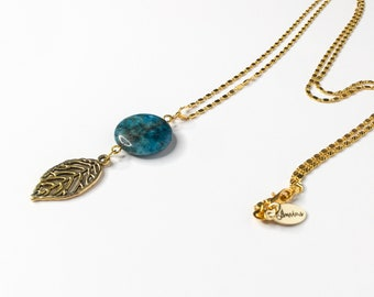 Lariat - Necklace 30 inches - genuine stone - 18 k plating gold - free shipping in the Canada