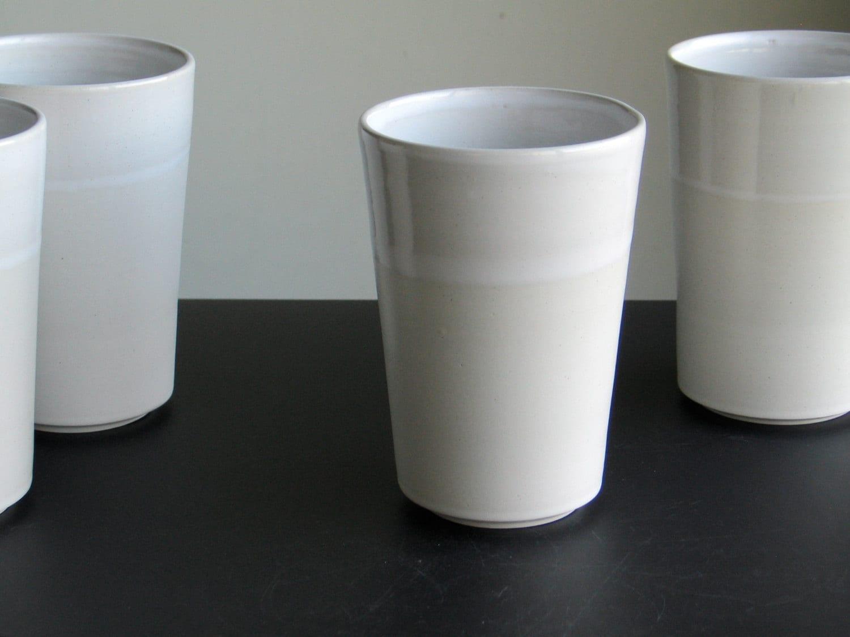grande chope mug tasse haute en gr s blanc gobelet. Black Bedroom Furniture Sets. Home Design Ideas