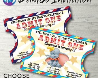 Dumbo Invitation, Circus Invitation, Dumbo Baby Shower Invitation, Circus Baby Shower Invitation, Vintage Ticket Invitation, Dumbo Party