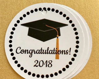 Class of 2018 Graduation Favor tags / Gift tags / set of 10