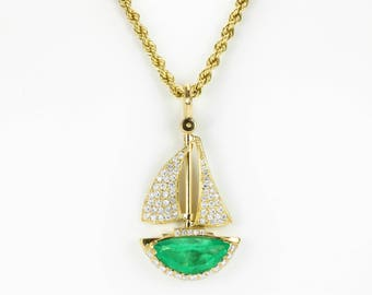 6.41tcw Exquisite Emerald & Diamond Sail Boat, Hand Made Emerald Sail Boat, Movement Diamond Sailboat, AAA Colombian Emerald Necklace