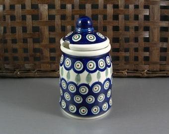 Boleslawiec Polish Pottery Tall Covered Sugar Bowl Honey Pot